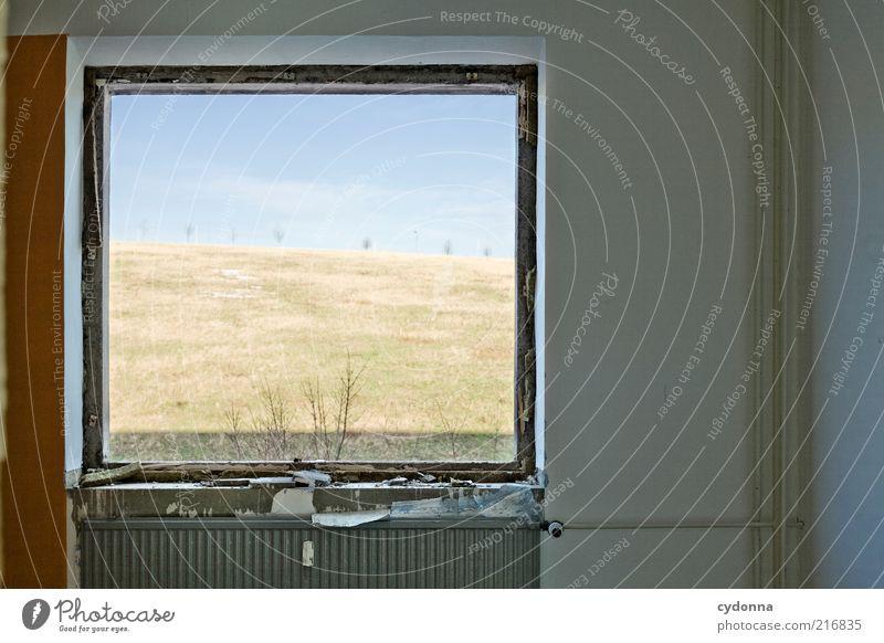 Fensterblick ruhig Häusliches Leben Renovieren Umwelt Natur Landschaft Himmel Wiese Perspektive stagnierend Zeit Heizung Farbfoto Innenaufnahme Menschenleer Tag