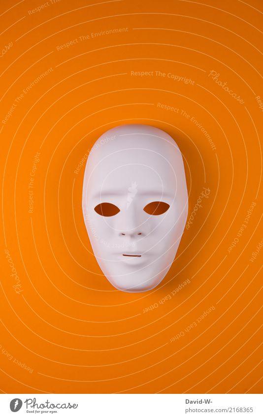 Maske orange Mensch Frau Jugendliche Mann Erwachsene Leben feminin Kunst Business Kopf maskulin verrückt Kultur einzigartig beobachten