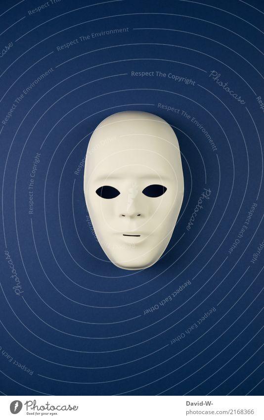 male anonym Mensch Jugendliche Mann blau Gesicht Erwachsene Leben Lifestyle Stil Kopf Design Angst maskulin beobachten geheimnisvoll Maske