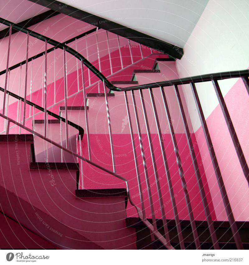 Anstieg Innenarchitektur Treppenhaus Architektur Treppengeländer außergewöhnlich eckig trendy rosa Design Farbe Farbfoto Innenaufnahme Menschenleer