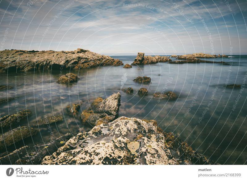 Bizkaya Natur Landschaft Luft Wasser Himmel Wolken Horizont Sommer Wetter Schönes Wetter Felsen Küste Bucht Meer maritim blau braun weiß Zacken