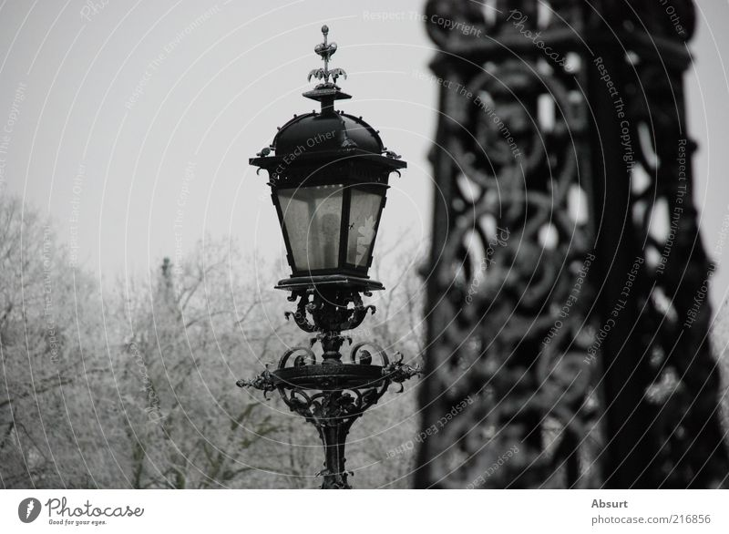 Hamburg in Eis alt weiß schön Winter schwarz grau Stimmung Park Frost Laterne historisch Straßenbeleuchtung altmodisch Schnörkel Jugendstil