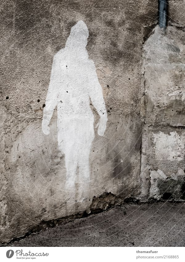 Graffiti, weißer Schatten mit Herz Ferien & Urlaub & Reisen Tourismus Ausflug Städtereise Lacoste Frankreich Dorf Kleinstadt Altstadt Haus Architektur Mauer