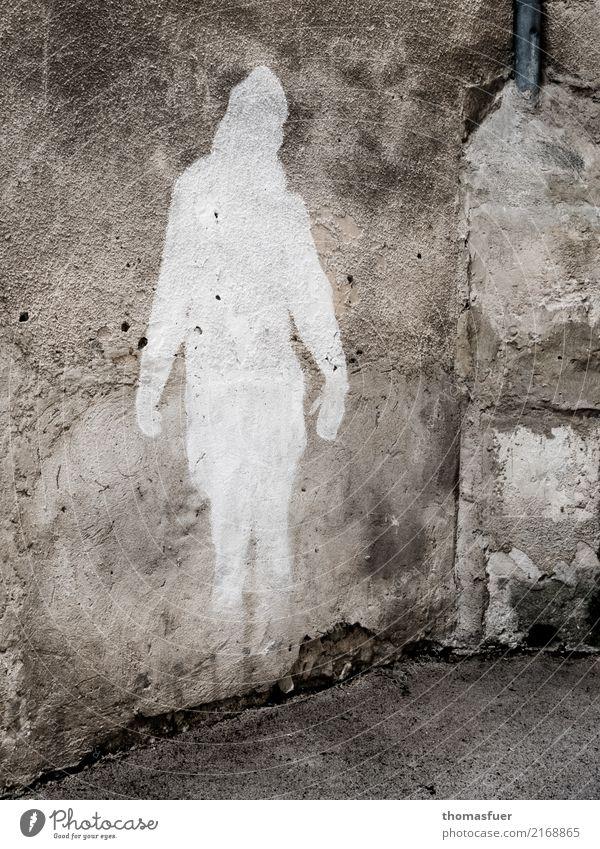 Schatten mit Herz Ferien & Urlaub & Reisen weiß Haus Architektur Wand Graffiti feminin Kunst Mauer Tourismus grau Stimmung Ausflug träumen stehen Kultur