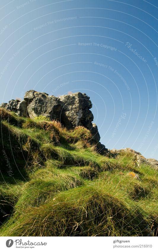 grasgrenze Umwelt Natur Landschaft Himmel Wolkenloser Himmel Pflanze Gras Hügel Felsen Berge u. Gebirge Gipfel hoch bewachsen Stein steinig Höhepunkt Farbfoto
