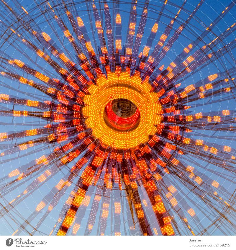 nach der dritten Maß blau Farbe rot Freude Feste & Feiern orange leuchten Kreis rund Jahrmarkt Rad Glühbirne Doppelbelichtung drehen festlich Oktoberfest