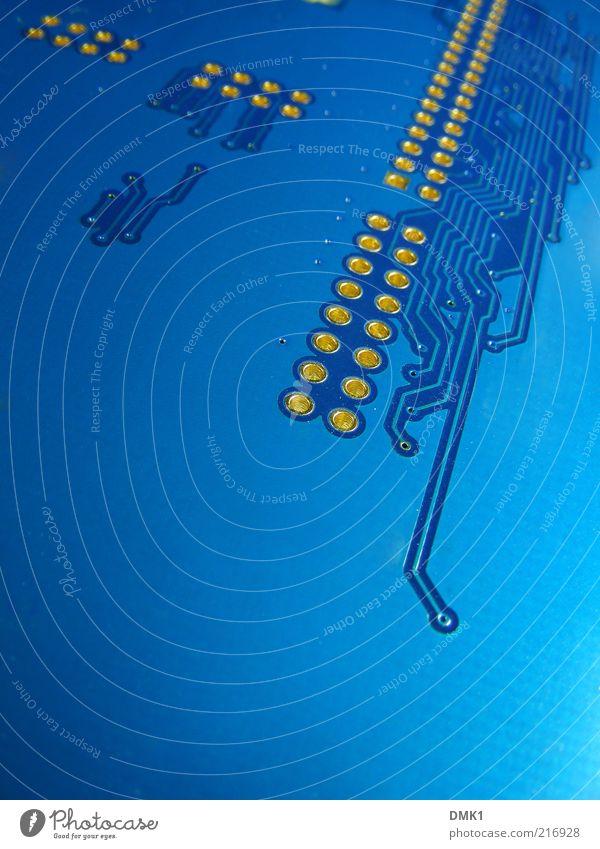 Lochkarte blau Linie Computer gold Informationstechnologie Netzwerk Industrie Technik & Technologie Telekommunikation Kunststoff Platine Kontrolle innovativ Makroaufnahme komplex Genauigkeit