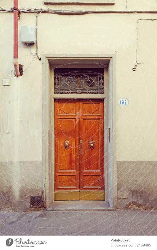 #A# Tür 66 Kunst ästhetisch Fassade Route 66 mediterran Holztür Florenz Italien Farbfoto Gedeckte Farben Außenaufnahme Detailaufnahme Experiment