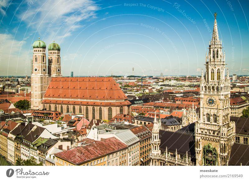 München Deutschland Europa Stadt Stadtzentrum Altstadt Skyline bevölkert Haus Kirche Rathaus Turm Bauwerk Gebäude Mauer Wand Fassade Sehenswürdigkeit