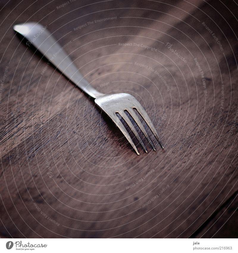 tafelsilber Besteck Gabel Holz Metall ästhetisch braun Farbfoto Innenaufnahme Menschenleer Textfreiraum oben Textfreiraum unten Hintergrund neutral
