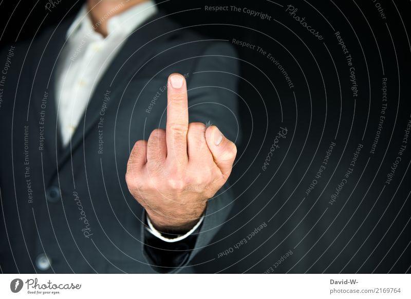Mittelfinger elegant Stil Student Handel Business Feierabend Mensch maskulin Mann Erwachsene Jugendliche Leben Finger 1 Konflikt & Streit Eifersucht Ärger