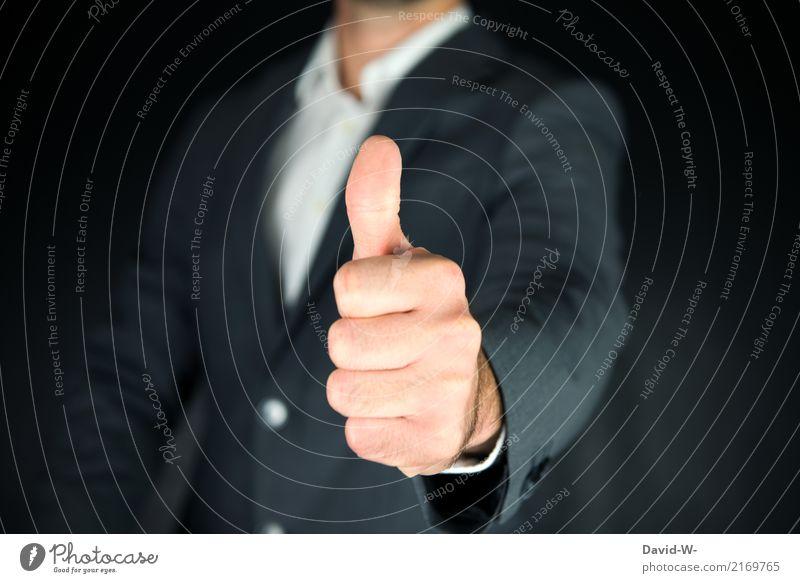 Daumen hoch! Mensch Mann Hand Erwachsene Leben Lifestyle Gesundheit Stil Business Zufriedenheit maskulin elegant Kommunizieren Erfolg Finger