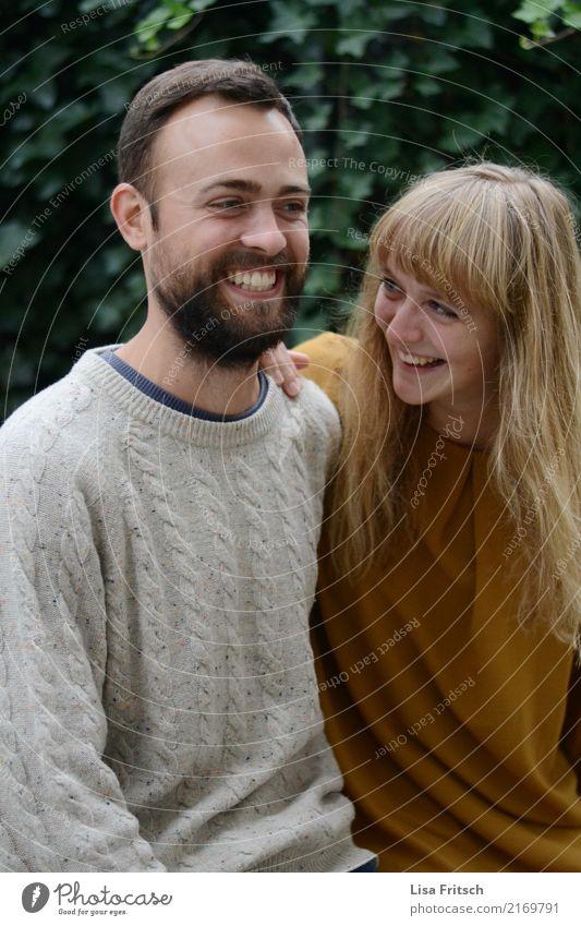 lachendes verliebtes Paar Mensch Jugendliche Junge Frau schön Junger Mann Freude 18-30 Jahre Erwachsene Leben Liebe Glück Zusammensein blond ästhetisch genießen