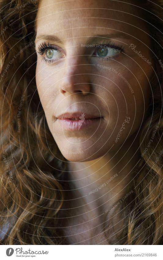 schön Glück Gesicht Wohlgefühl Junge Frau Jugendliche Sommersprossen 18-30 Jahre Erwachsene rothaarig langhaarig Locken Lächeln Blick ästhetisch außergewöhnlich