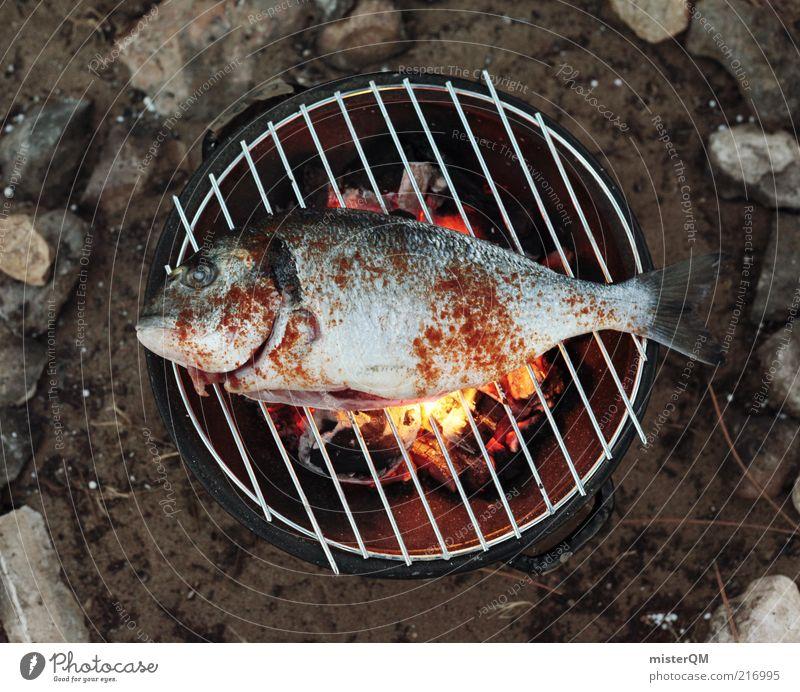 Mediterranean Barbecue. Tier ästhetisch Fisch Abendessen Grillen Grillrost Grillkohle Grillsaison Urlaubsfoto lecker Steinkreis Feuer Feuerstelle frisch