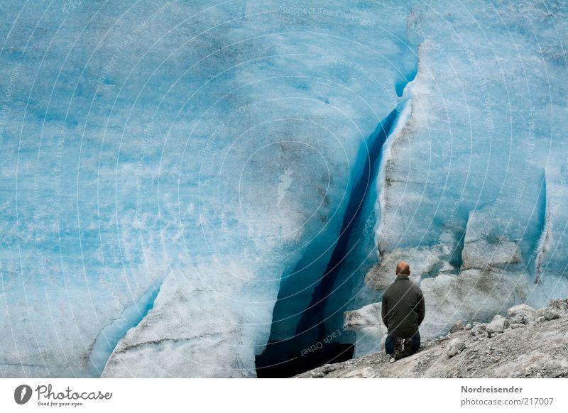 200...ich knie nieder Mensch Mann Natur Ferien & Urlaub & Reisen ruhig Leben Erholung Eis Zufriedenheit warten Erwachsene wandern maskulin Umwelt groß