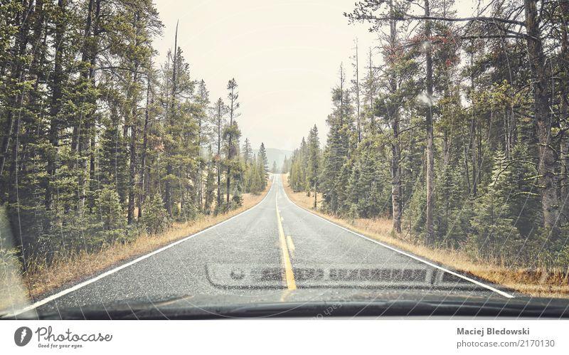 Regnerische Bergstraße. Natur Ferien & Urlaub & Reisen grün Einsamkeit Wald Berge u. Gebirge Straße Freiheit Stimmung Ausflug Regen PKW retro authentisch