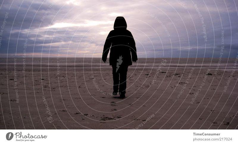 Ein kleiner Schritt für mich, ein großer für den Schwarzen Mann Mensch Strand schwarz Einsamkeit Ferne dunkel kalt Eis Stimmung Küste gehen laufen Frost Insel