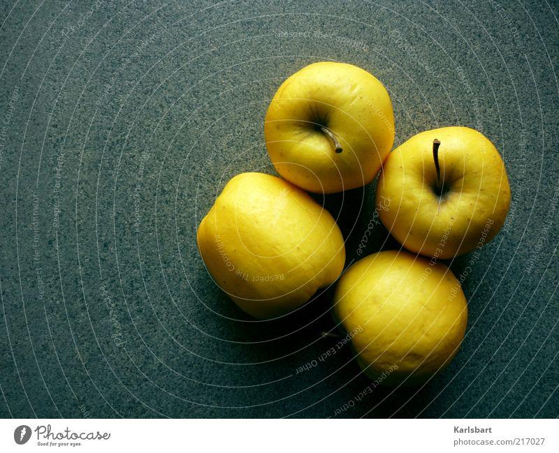 4apples Lebensmittel Frucht Apfel Ernährung Bioprodukte Vegetarische Ernährung Diät Gesundheit Stein frisch gelb Farbe Farbfoto mehrfarbig Innenaufnahme