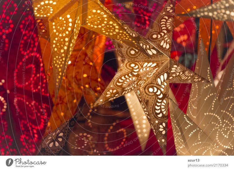 Sterne für Weihnachten leuchten bunte Farben auf Weihnachtsmarkt Ferien & Urlaub & Reisen alt Weihnachten & Advent schön weiß rot Freude Winter