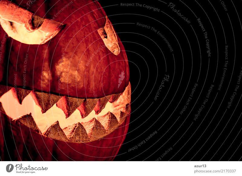 Side view halloween pumpkin smile with fire burning eyes mouth alt schön Freude dunkel schwarz Gesicht gelb Umwelt Herbst Gefühle lachen Kunst außergewöhnlich
