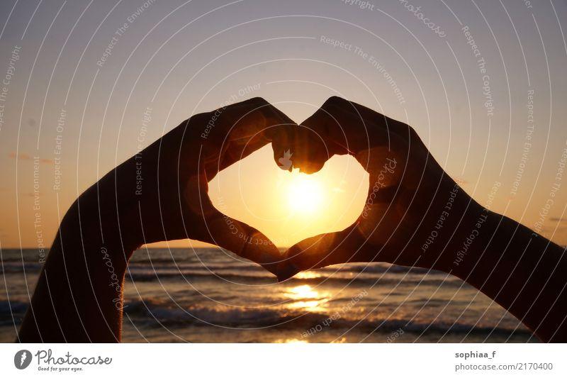 handgeformtes Herz vor dem Suset, Freundschaft Liebe Hände Sonnenuntergang Zusammensein Strand Partnerschaft gestikulieren Hand Urlaub Paar Sommer Sommerzeit