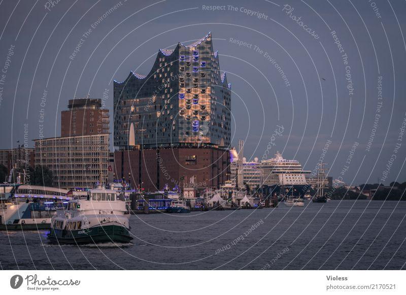 Hamburg meine Perle Hafen Elbphilharmonie Hafenrundfahrt Elbe Kehrwiederspitze Dampfschiff Dämmerung Wasser