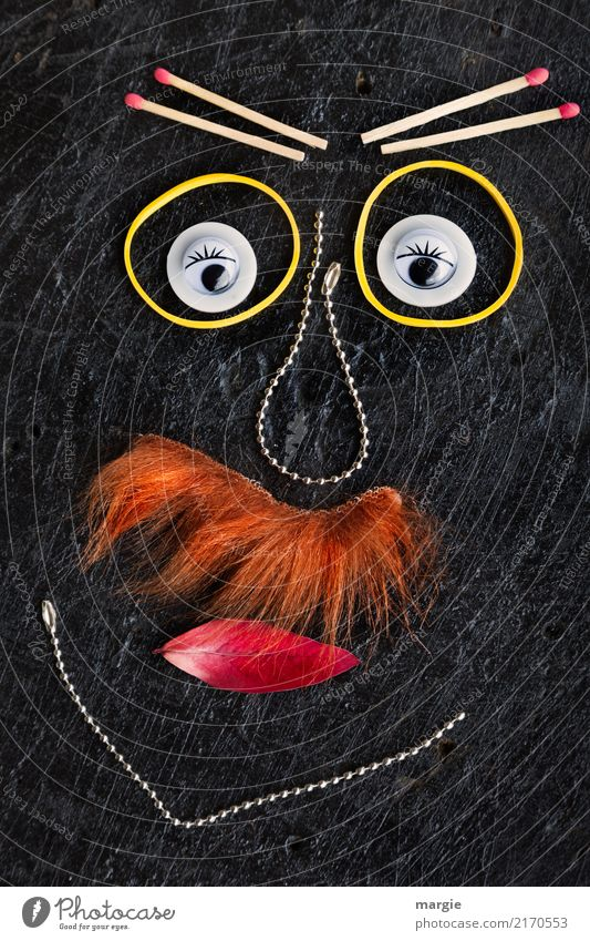 Emotionen...coole Gesichter: Schnauzbart Mensch Mann schwarz Auge Erwachsene orange maskulin