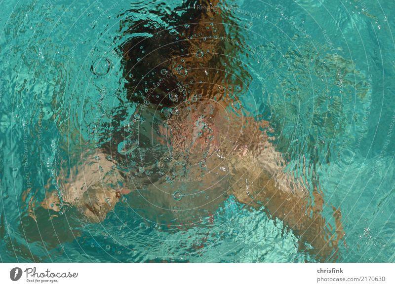 Junge unter Wasser Kind Mensch Jugendliche blau Sommer Sport Kopf Schwimmen & Baden Freizeit & Hobby Angst Zufriedenheit maskulin 13-18 Jahre Kindheit