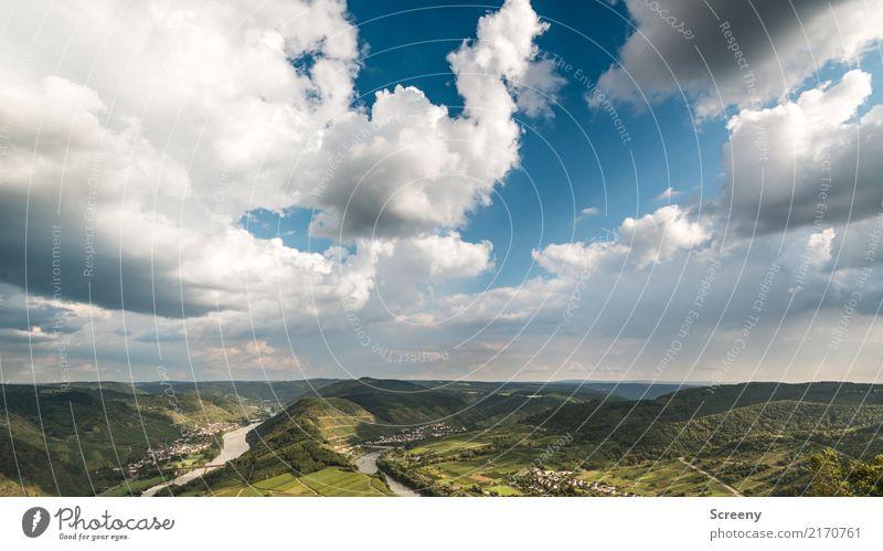 An der Mosel #4 ... Weite Blicke Ferien & Urlaub & Reisen Tourismus Ausflug Natur Landschaft Pflanze Luft Wasser Himmel Wolken Sommer Schönes Wetter Hügel Fluss