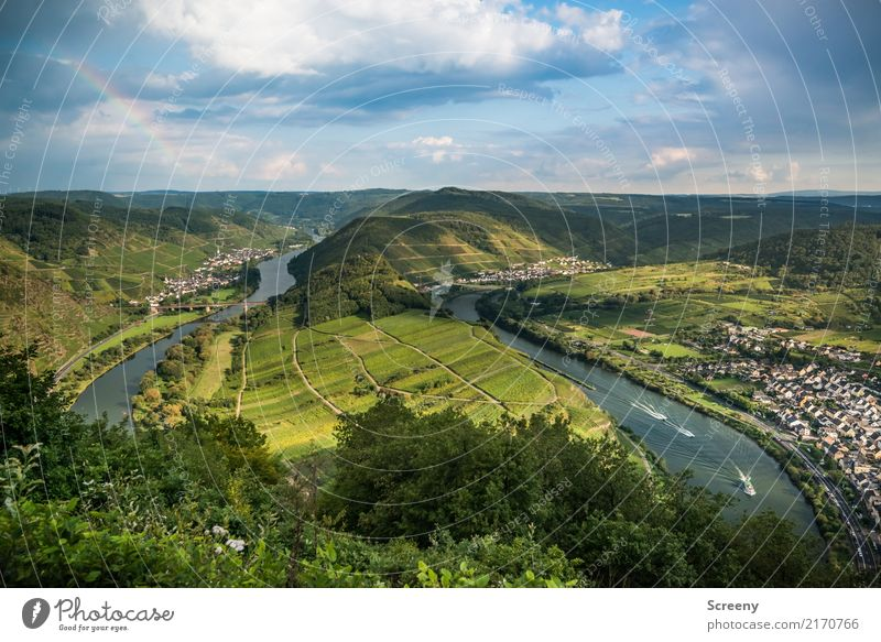 An der Mosel #2 - mit Regenbogen Ferien & Urlaub & Reisen Tourismus Ausflug Sightseeing Natur Landschaft Pflanze Luft Wasser Himmel Wolken Sonne Sommer