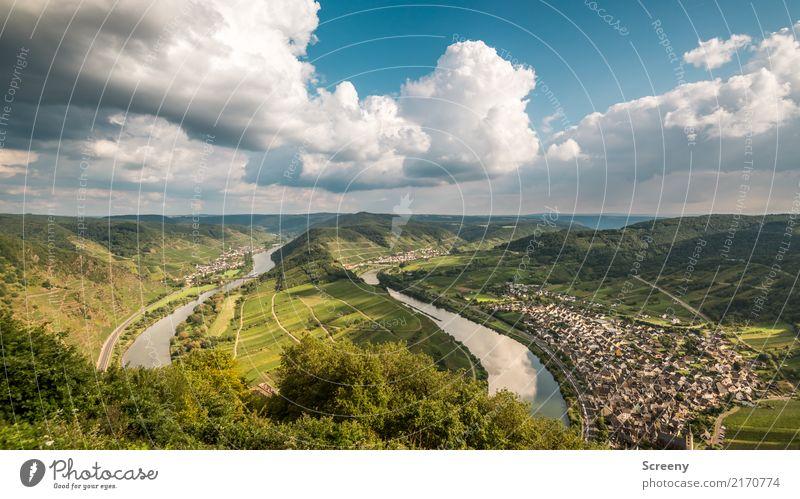 An der Mosel #3 ... Ferien & Urlaub & Reisen Tourismus Ausflug Natur Landschaft Pflanze Wasser Himmel Wolken Sommer Schönes Wetter Hügel Flussufer