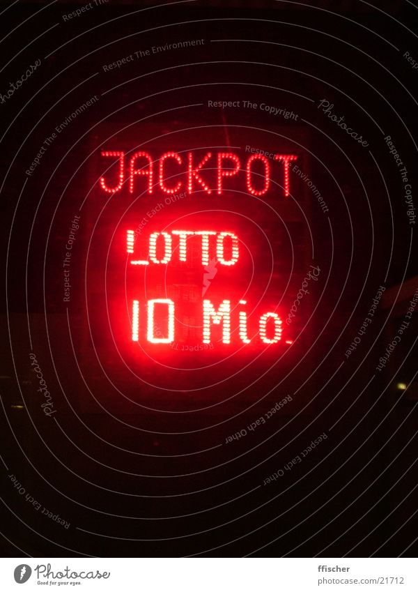Jackpot! Glücksspiel Lotterie rot 10 Millionen Dinge Totto Geld Nacht Licht