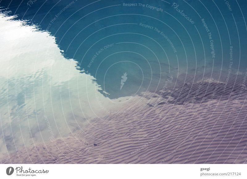 dreigeteilt Natur Erde Sand Wasser Seeufer Lake Luise ästhetisch kalt nass Sauberkeit schön blau durchsichtig rein Farbfoto Außenaufnahme Menschenleer
