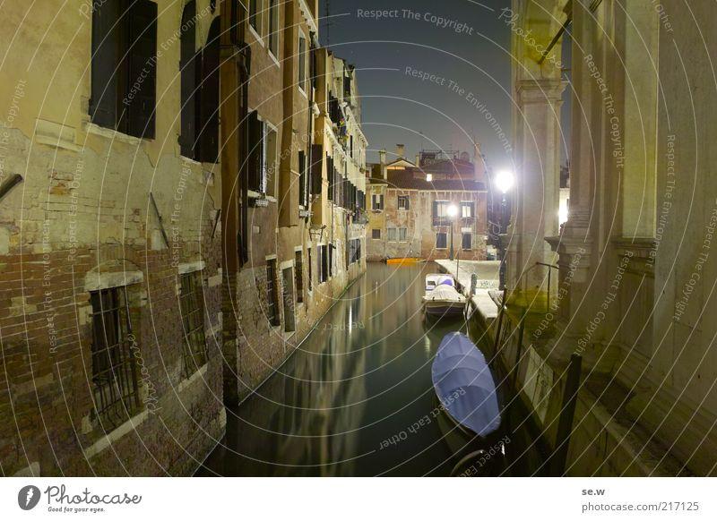 Venezia [2] Venedig Haus Mauer Wand Kanal Wasserfahrzeug leuchten Ferien & Urlaub & Reisen dunkel gelb Stimmung Romantik Menschenleer Nacht ruhig