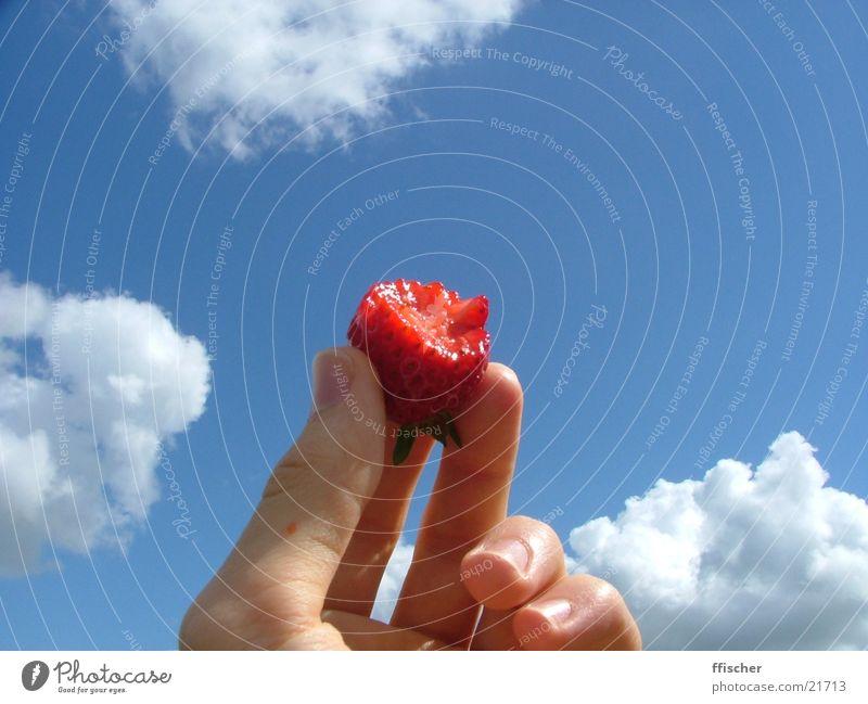 Erdbeergott Hand Himmel blau Wolken Ernährung Frucht obskur Erdbeeren