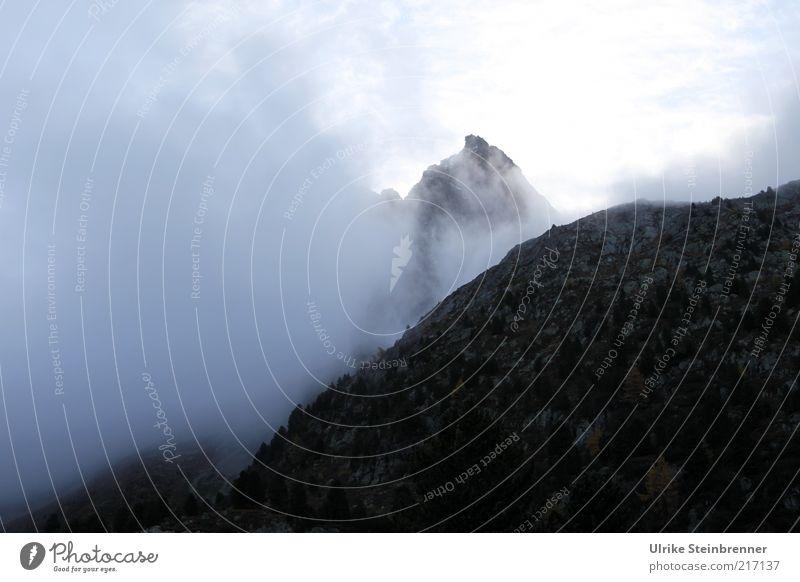 Aufragend Ferien & Urlaub & Reisen Berge u. Gebirge Landschaft Urelemente Nebel Alpen Gipfel bedrohlich dunkel Nebelwand Stein hoch aufwärts steil Naturgewalt