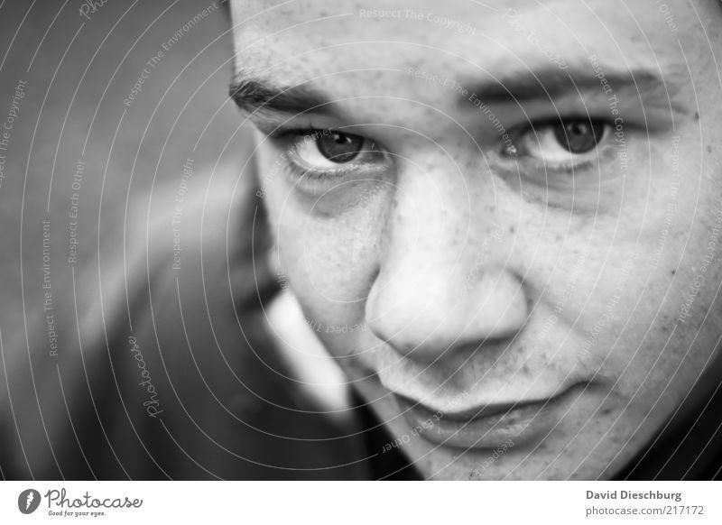 Treue Seele Mensch Jugendliche Gesicht ruhig Auge Kopf Haare & Frisuren Mund Nase maskulin Lippen Müdigkeit Gesichtsausdruck Mann Augenbraue ernst
