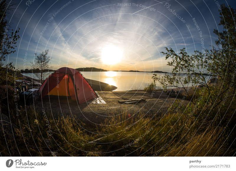 Scenic tent spot Ferien & Urlaub & Reisen Tourismus Abenteuer Freiheit Camping Sommer Sommerurlaub Meer Insel Natur Landschaft Erde Wasser Himmel Wolken Sonne