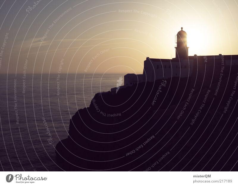 sun's down. Sonne Meer Einsamkeit Ferne Küste Hoffnung ästhetisch Zukunft Romantik Turm Sehnsucht Idylle Leuchtturm Fernweh Süden Klippe