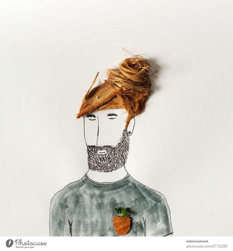 Beard Freizeit & Hobby Basteln zeichnen maskulin Mann Erwachsene 1 Mensch T-Shirt blond Vollbart Dekoration & Verzierung Holz atmen schlafen träumen Coolness