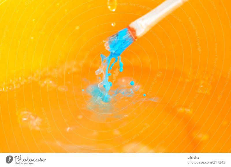 Colors Wasser Kunst nass Wassertropfen Tropfen Reinigen machen Makroaufnahme Pinsel Aktion Detailaufnahme Kultur