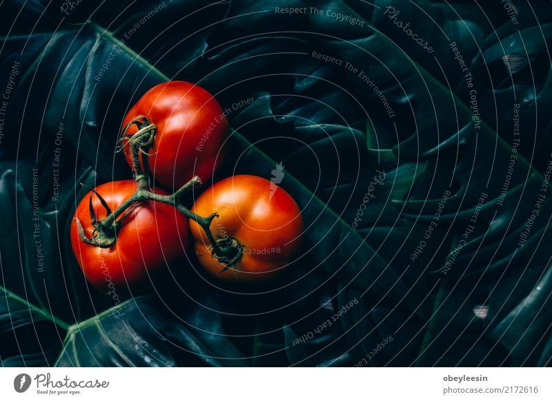 Nahaufnahme von frischen, reifen Tomaten auf hölzernem Hintergrund Natur Pflanze Sommer grün weiß rot Blatt natürlich Holz klein Garten Menschengruppe Wachstum