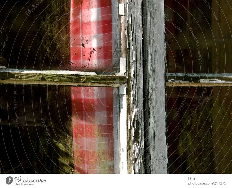 das kreuz alt rot Haus Fenster Holz dreckig Armut Wandel & Veränderung Häusliches Leben Hütte Schönes Wetter Fensterscheibe Gardine kariert Lack Billig