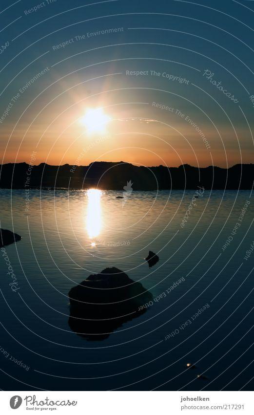 sundown Himmel Natur blau Wasser schön rot Sonne Sommer Farbe ruhig gelb Erholung Umwelt Herbst Wärme See