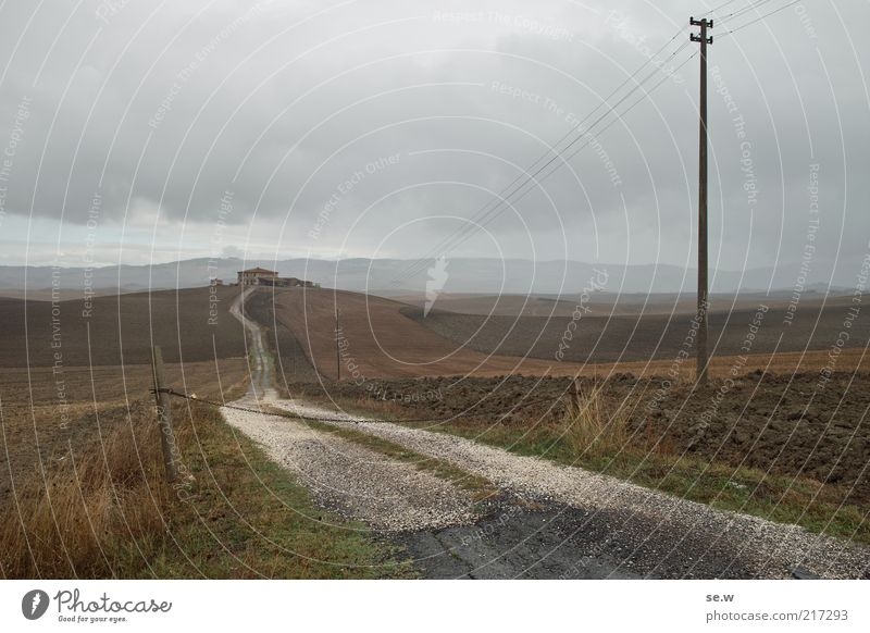 Toskana [1] Ferien & Urlaub & Reisen Wolken Einsamkeit Ferne Erholung grau Wege & Pfade Landschaft braun Feld Erde Unendlichkeit Sehnsucht Hügel Bauernhof