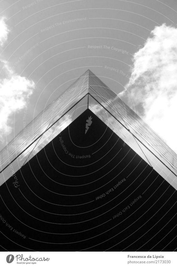 Das fliegende Hochhaus II Stadt schwarz Design oben Zufriedenheit Horizont Metall modern Glas Kraft Perspektive USA hoch bedrohlich