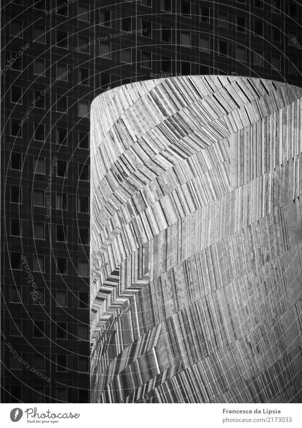 Hell und Dunkel Skulptur Architektur Paris Frankreich Menschenleer Hochhaus Bankgebäude Turm Mauer Wand Fassade Holz Glas Metall ästhetisch Partnerschaft Design