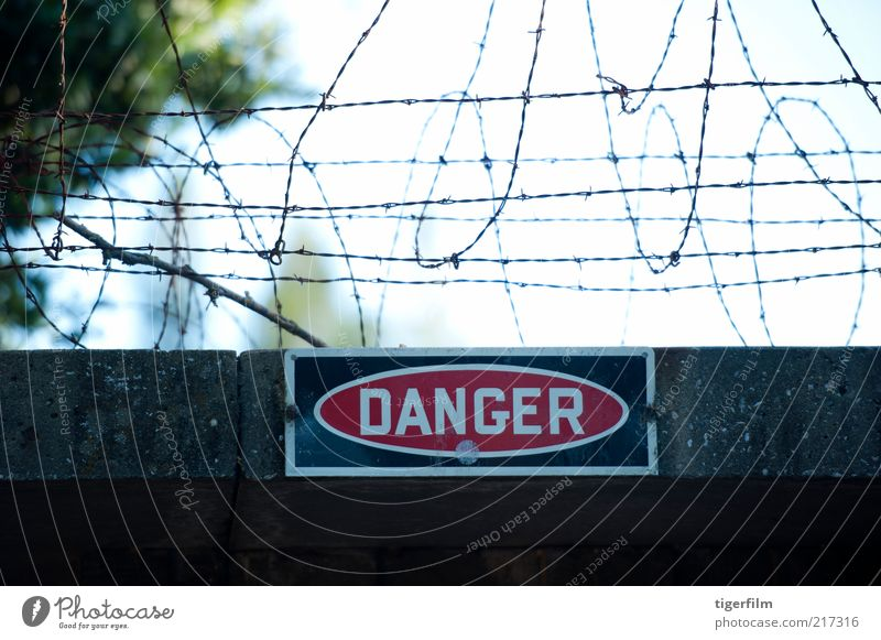 Gefahrenschild unter Stacheldrahtzaun Lebensgefahr Zeichen Gebäude mit Stacheln versehen Draht Eingang gesperrt Zaun Rolle Wand Mauer Zement rot Geborgenheit