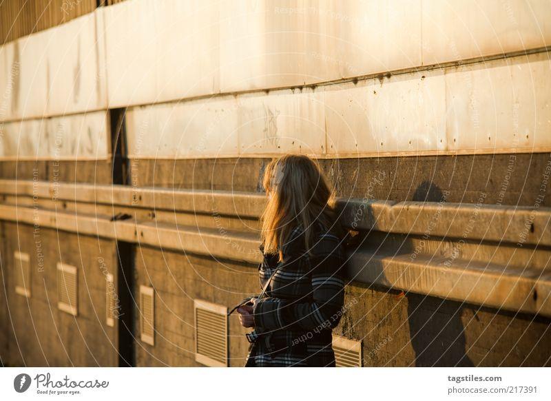 IN GEDANKEN Gedanke Denken nachdenklich Frau Fluchtpunkt Sonnenuntergang Sonnenlicht orange gelb Traurigkeit verträumt träumen Farbfoto Textfreiraum oben Wärme